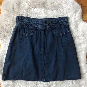 Free People Blue Braided Baby Denim Mini Skirt